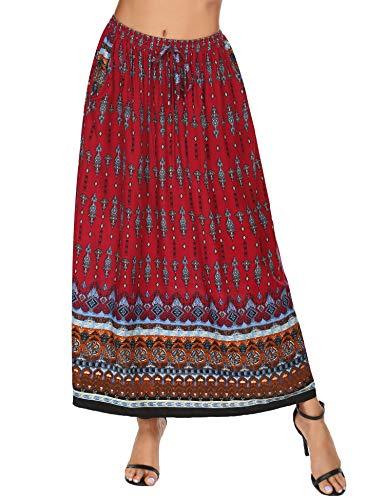 Parabler Kjol dam maxikjol boho sommarkjol plissé retro lång veckad kjol strandkjol elastisk midja danskjol maxi tallrik kjol, röd, M