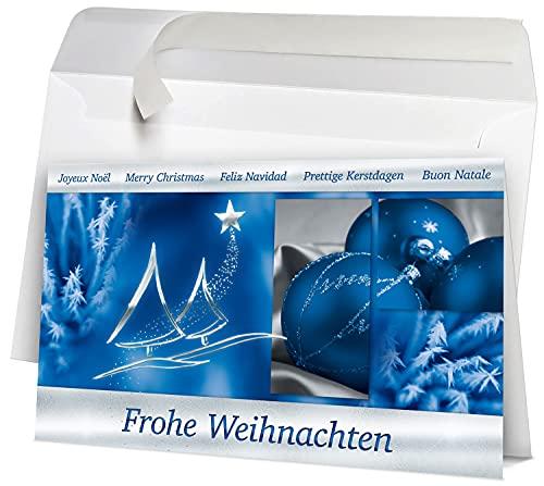 50 Premium Weihnachtskarten internationale Weihnachtsgrüße blau WK16191, große Klappkarten im Set inkl. Umschlag. Die ideale Geschäftskundenkarte für Firmen Behörden Handel und Dienstleistung