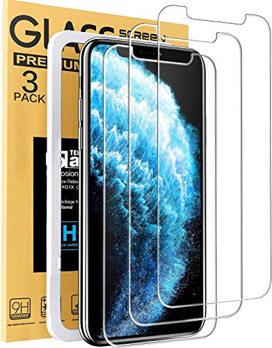 Tempered Glass Film Screen Protector Compatible with iPhone 11 & iPhone XR Easy Installation Kit 3-Pack Cristal Clear