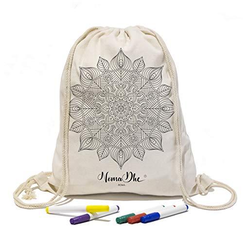 Nomadhe Kit_Zaino Sacca Sportiva e Borsa Shopper da Viaggio in 100% Cotone con Disegno da Colorare + Set di 5 Pennarelli da Tessuto, Idea Regalo per Ragazza e Ragazzo Mandala (Sacca, Roma)