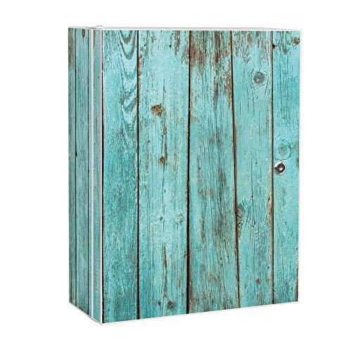banjado XXL Medizinschrank abschliessbar | großer Arzneischrank 35x46x15cm | Medikamentenschrank aus Metall weiß | Motiv Blaues Holz mit 2 Schlüsseln | Gestaltung auf Front und Seiten