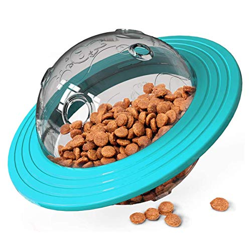 Bola de regalo para perros IQ Treat Ball dispensadora de puzzle, multifuncional, vaso de ovni alimentador interactivo para perros pequeños y medianos que persiguen jugar (azul)