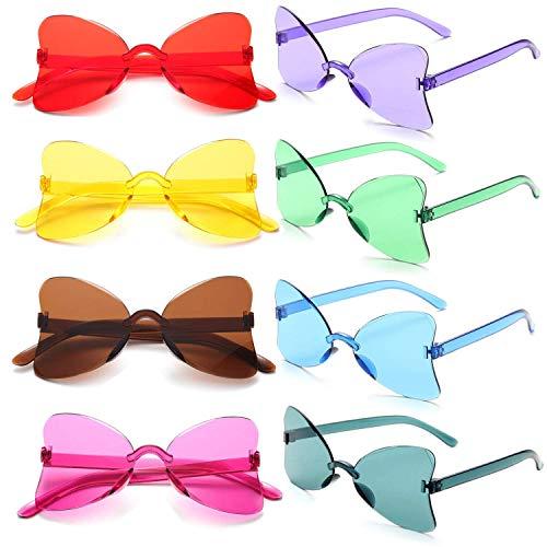 FSMILING 8er Bunte Herz Sonnenbrille Lustige Randlos Transparent Farbige Party Brille Für Karneval/Fasching