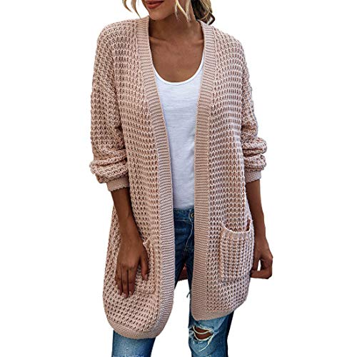 SEXOX Women's Chunky Knit Long Arm Cardigan with 2 Pockets Loose Knitwear Oversized Sweater Ladies Casual Solid Color Waffle Jumper Shirt Blouse
