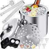Faburo Eiskübel, 1.3L Eiseimer Edelstahl mit Zange Deckel Doppelstöckig Eiswürfelbehälter Eisbehälter Sektkühler Weinkühler aus Edelstahl mit Flaschenöffner Eiswürfelformen