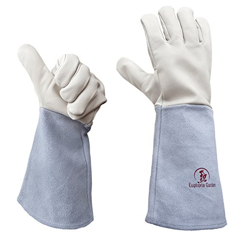 Rose Gardening Gloves by Euphoria - Cowhide Leather Garden Gauntlet Gloves - Puncture Resistant Work...