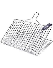 QQRR Grillkorg, fiskbräda, vikbar grillkorg, med avtagbart trähandtag, för grillad fisk- grönsaksräkstek (kvadratisk)