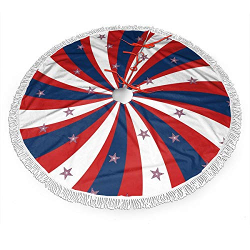 TNIJWMG Patriotic Pinwheel Design Christmas Tree Skirt 30 Inch Rustic Tree Xmas Ornaments Printed Holiday Party Decorations Indoor Outdoor Accessory Gift