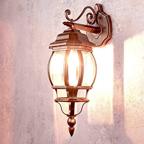 *Nostalgische Wand Außenleuchte Brest in rot schwarz aus Aludruckguss IP23 E27 bis 60W vielseitige Wandlampe für Außen Hof Garten Beleuchtung*