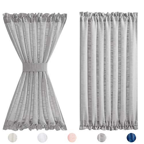 Fmfunctex Grey French Door Curtains for Sliding Glass Door 40' Half Privacy Semi Sheer Linen Texture Door Window Panels for Front Back Door Tiebacks Attached 1 Panel