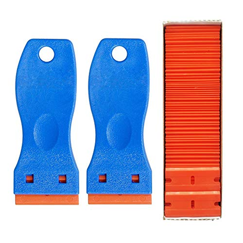 GUGUGI 2 Pack Plastic Razor Scrapers Paint Scraper Tool Wallpaper Scraper Paint Remover Putty Knife with 100 PCS Double Edge Plastic Razor Blades Ideal for Removing Labels, Stickers and Decals