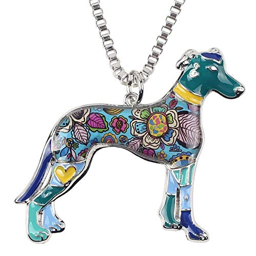 TUDUDU Aleación de Esmalte Floral Collar de Perro Galgo Colgante Collar de Cadena joyería de Moda para Mujeres niñas Accesorios de Regalo Longitud 50 cm + 7 cm