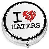 I Love Haters Custodia tonda portatile tonda in argento per tasca portamonete 3 scomparti per tasca o borsa