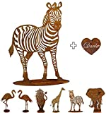 Gartenfigur Rost auf festem Stand – Hochwertig & Wetterfest - Metall Tierfigur - Edelrost Dekofigur / Tier Figur – Gartendeko / Dekoration (Zebra - Höhe 150cm)