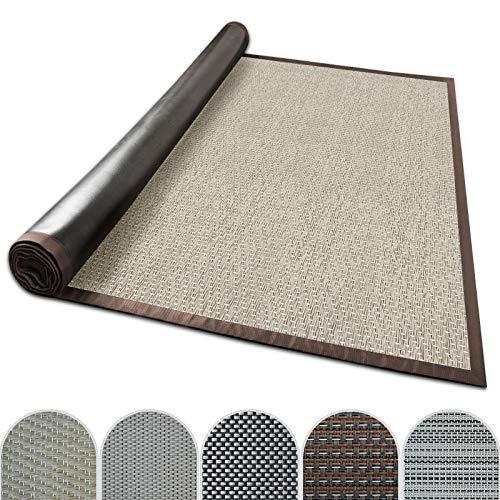 casa pura Outdoor-Teppich mit Bordüre | ideal für Terrasse, Balkon, Garten, Küche, Flur | aus Kunststoff wetterfest und rutschsicher | Viele Größen und Farben (Verona, 70x130 cm)