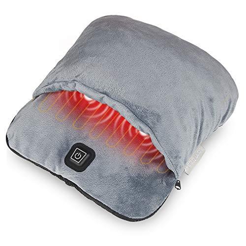 Calentador eléctrico de pies con calefacción y función de masaje de vibración, almohadilla de calentamiento rápido Fleece de franela ultra suave, para hombres y mujeres alivia el dolor