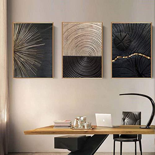 SGFG Lienzo Pintura Negro línea Dorada Textura Cartel Vintage Minimalista Pared Arte Moderno Lujo Sala de Estar decoración del hogar 60x90cmx3 sin Marco