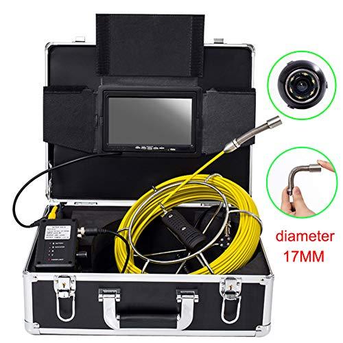 LLY Cámara inspección de tuberías -17MM Underwater Vent Video Endoscopio Impermeable IP68 7 Pulgadas DVR Sistema de función de grabación con 8G Tarjeta SD,20Mcable