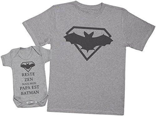 Reste Zen mais Mon Papa est Batman - Ensemble Père Bébé Cadeau - Hommes T-Shirt & Body bébé - Gris - M & 6-12 Mois