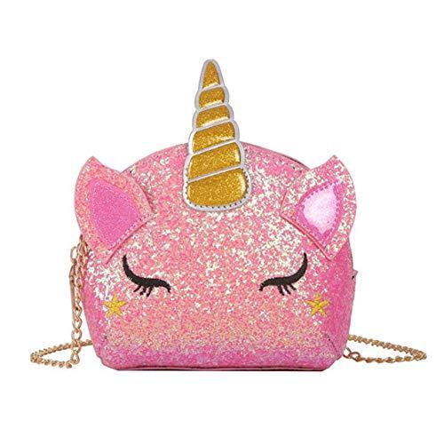 Umhängetasche Einhorn INTVN Geschenk für Mädchen Schultertasche,Mädchen Kindertasche,Cartoon Tasche,Umhängetasche Pailletten,Pailletten geldbörse (pink)