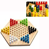 Paytion Hexagon Wooden Chinese Checkers Family Game Set 1PC for Family/Travel