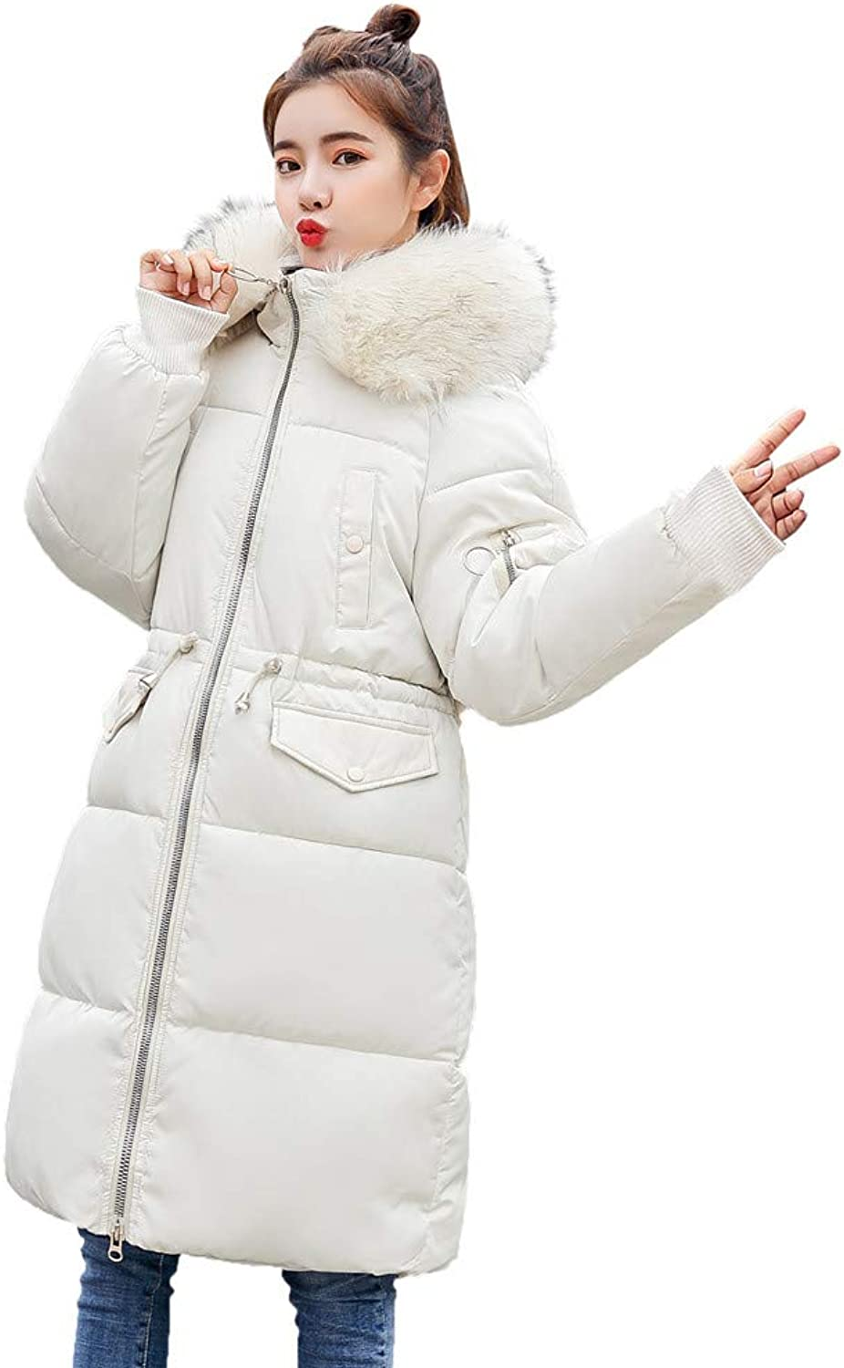 Laimeng_World Women's Thickened Coat Long Sleeve Outerwear CottonPadded Jackets Pocket Fur Hooded Coats