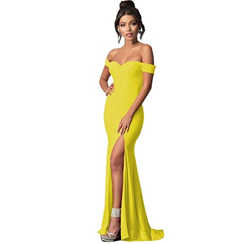 f2c9ef690 Lily Wedding Womens Off Shoulder Prom Dresses 2019 Long Mermaid Formal  Evening Ball Gowns with Slit