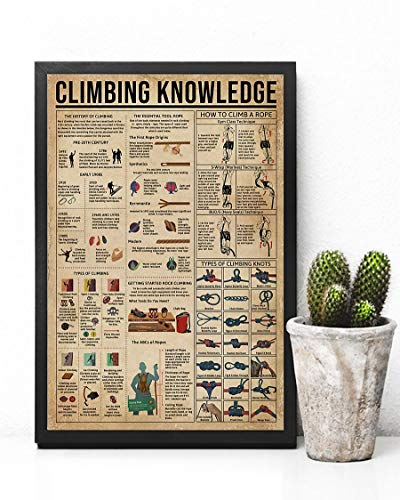 """HolyShirts Climbing Knowledge How to Climb a Rope Types of Climbing Knots Poster (16"""" x 24"""")"""