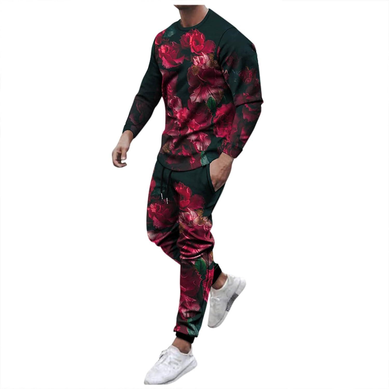 Men's Casual Tracksuits 2 Piece Long Sleeve Printed Jogging Suits Set Autumn Sweatshirt and Sweatpants Tracksuit for Men