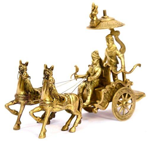 Hecho a mano latón metal–Carro Caballo Carro–Arjun Rath en el momento de Shri Geeta poema en mahabharat