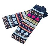 KaloryWee Damen Oberschenkel hoch über den Kniestrümpfen Mädchen Feste Strümpfe Patchwork Dot Wollsocken Nationaler Hohe Socken JK Haufen Socken