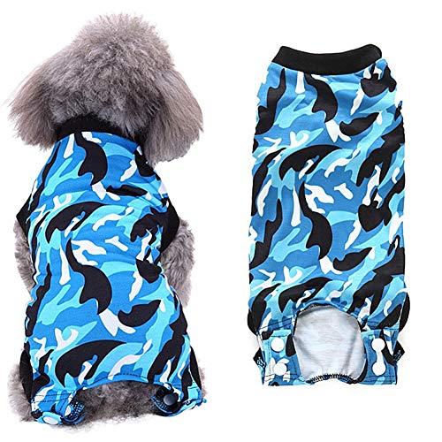 op Body für Hunde Hundebody Cat Recovery Suit Chirurgische Weste für Hunde Katzenmäntel für Haustiere Hundeweste nach der Operation Camouflage-Blue,xs