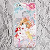 Anime Pixel Case Kawaii for Google Pixel 4 3 3a XL 4xl 2XL 3XL 2 XL LG G5 G6 G8 Floral Pink Flowers Sakura Cardcaptor Phone Case for Women Girls Manga Gifts Silicone TPU Clear Cover