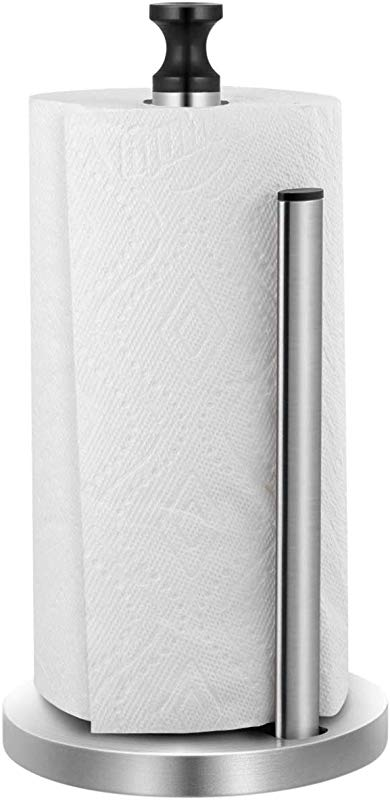 Homemax Paper Towel Holder One Handed Tear Stainless Steel Kitchen Paper Towel Dispenser With Weighted Unti Skid Base And Spring Active Arm