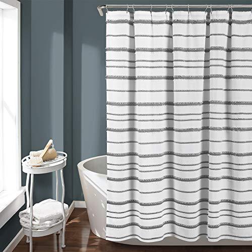 "Lush Decor, White & Gray Stripe Clip Jacquard Shower Curtain, 72"" x 72"""