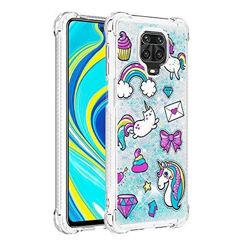 Miagon Flüssig Hülle für Xiaomi Redmi Note 9S,Glitzer Weich Treibsand Handyhülle Glitter Quicksand Silikon TPU Bumper Schutzhülle Case Cover-Pferdebrief