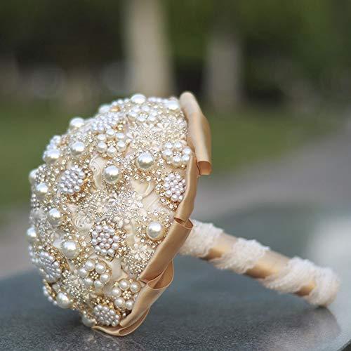 DANJIA Boda Novias, Damas de honor, Las Niñas de las Flores de la Boda Ramo de la Perla de la Cinta de Material de Europa Estados Unidos 25 * 21 cm Oro