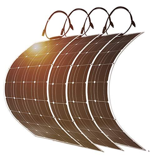 4PC DOKIO Pannello Solare 100W 12V Fotovoltaico Monocristallino Flessibile Portatile Impermeabile per Giardino Camper Roulotte Tetto RV Barca Auto Rimorchio Cabina
