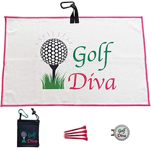 Giggle Golf Par 3 - Waffle Golf Towel, Tee Bag with 4 Tees, and Bling Ball Marker with Hat Clip - Perfect Golf Gift for Women (Golf Diva)