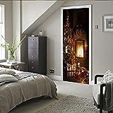 YANGCH 3D Papel Pintado Puertas Autoadhesivo Chimenea de regalo de Navidad 85x215cm Impermeable Papel Pintado Mural Pegatinas 3D Para Puertas Vinilos Decorativos