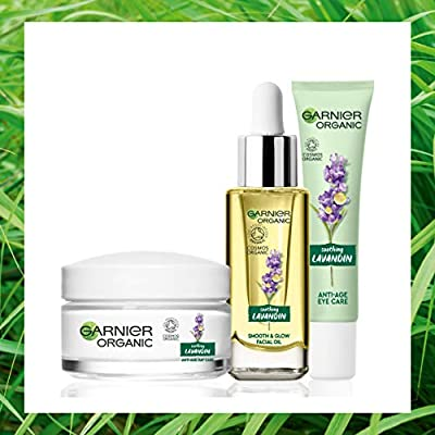 Garnier Organic Lavandin Set: Anti-Age Day Cream, Smooth & Glow Facial Oil and Anti-Age Eye Cream for Healthy Glowing Skin - Suitable for Dry & Sensitive Skin