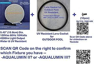 MIGHTY BRIGHT LED LIGHT for Pentair Aqualumin III Swimming Pool Light + UV-RESISTANT LENS GASKET, 5.4