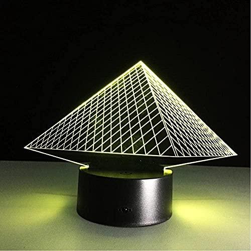3D ilusión lámpara USB llevó acrílico noche luz funciona con pilas novedad 3D lámpara 16 colores cambiar táctil armario movimiento noche luz