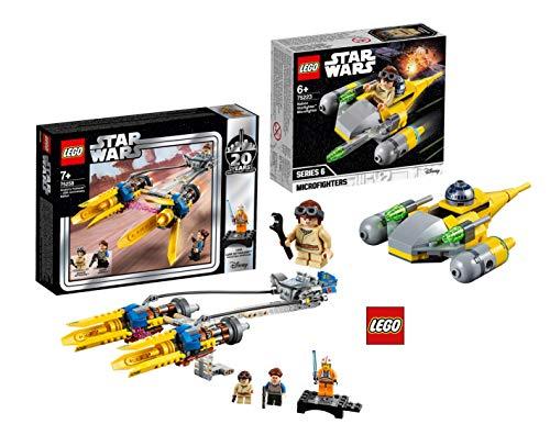 LEGO Star Wars 75258 - Die dunkle Bedrohung Anakin's Podracer – 20 Jahre Star Wars, Bauset + LEGOStar Wars™ 75223 Naboo Starfighter™ Microfighter