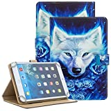 Popbag Case for 9.6-10.5 Inch Display Tablet - Slim Stand Wallet Cute Case for Samsung Galaxy & HD 10 2021 & Lenovo Tab & Onn 10 Pro & Android Tablet 9.7 10 10.1 10.2 10.3 10.4 10.5 Inch-White Wolf