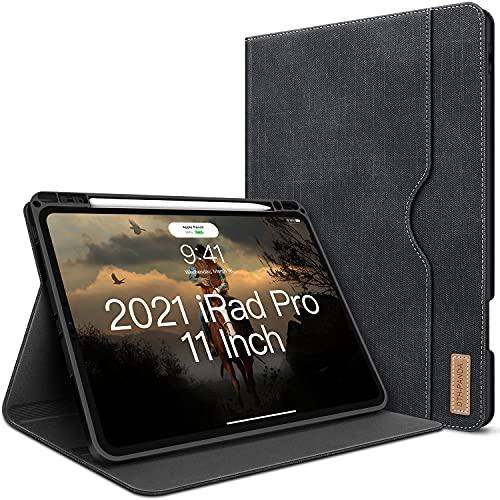 """Hülle für iPad Pro 11 2021/2020/2018 (3.Gen/2.Gen) mit Stifthalter Leder Standfuß Denim Automatischem Schlaf/Aufwach Unterstützung Stift Kabelloses Aufladen DTH-PANDA iPad Pro 11""""Hülle"""