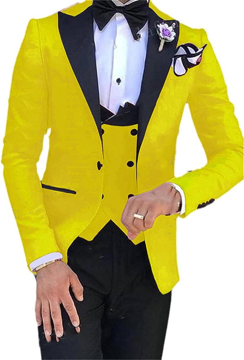 CACLSL Men's Colorful Fashion Wedding Suit Suit Jacket Pants Vest 3-Piece Tuxedo