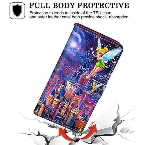 """DISNEY COLLECTION Wallet Case for iPhone 7/8 Plus 5.5"""" Tinkerbell at Cinderella Castle Pattern Magnetic Closure with Kickstand Folio Flip Cover with Card Holder and Wrist Strap Protective Cover"""