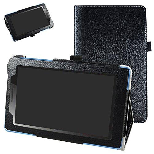 MAMA MOUTH Lenovo Tab3 A7-10 / Tab 3 7 Essential Funda, Slim PU Cuero con Soporte Funda Caso Case para 7' Lenovo Tab3 7 Essential 710F 710I Android Tablet 2016,Negro