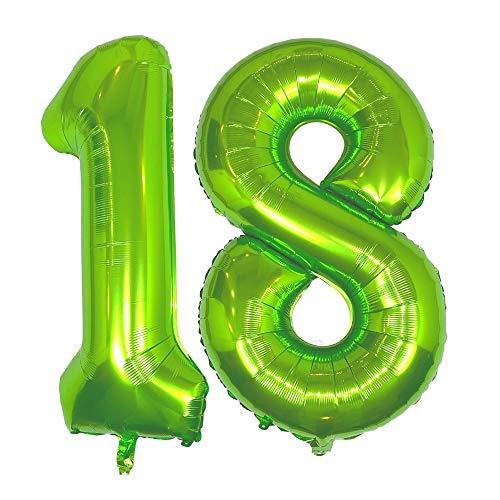 DIWULI, XXL giganti Palloncini, Numero 18, Palloncino Verde Numeri, Pallone in Foil Anni gonfiabile grande gigante ragazzo ragazza, 18° Compleanno, Matrimonio, Nozze, Anniversario, Festa, Decorazione